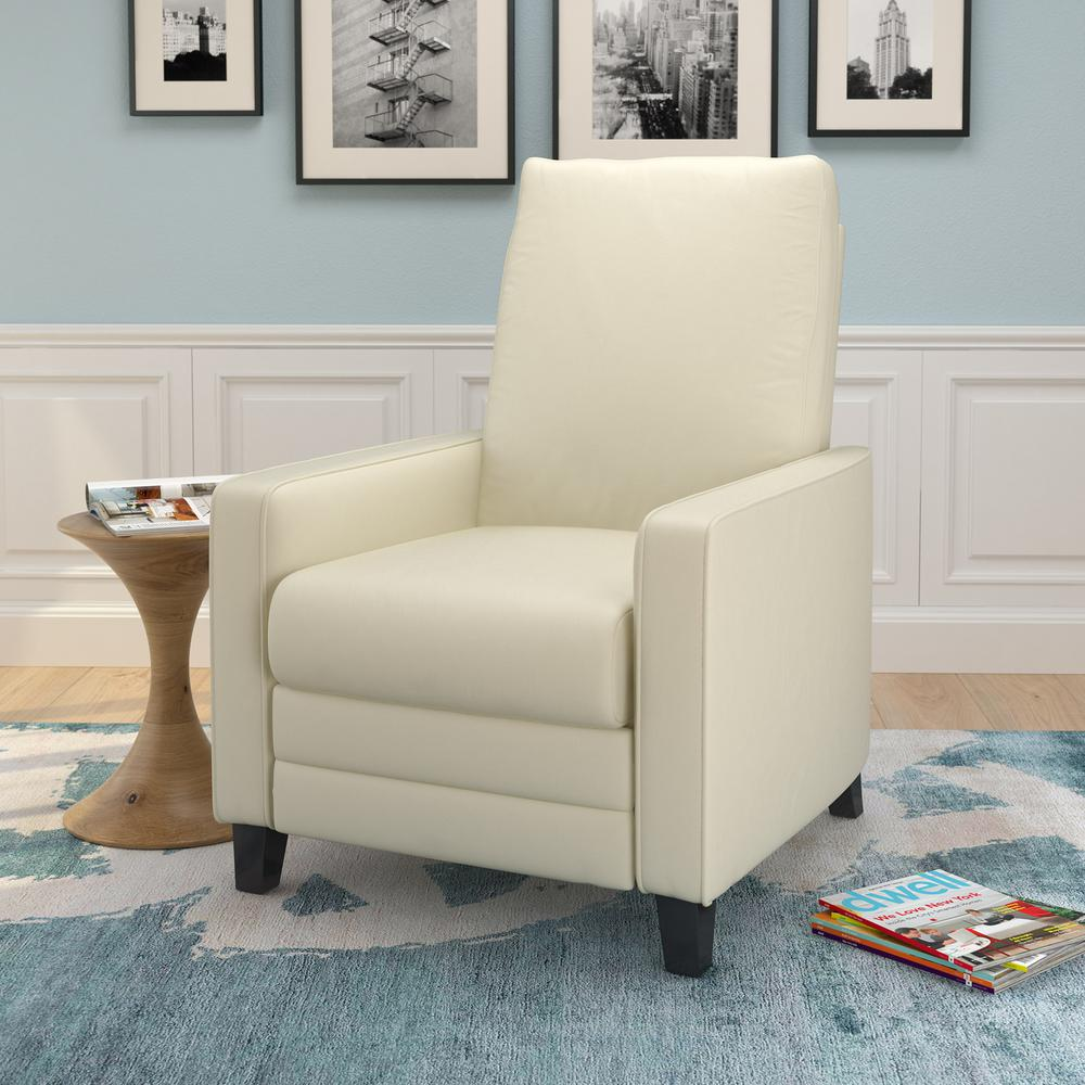 Kelsey Cream Bonded Leather Recliner. Picture 3