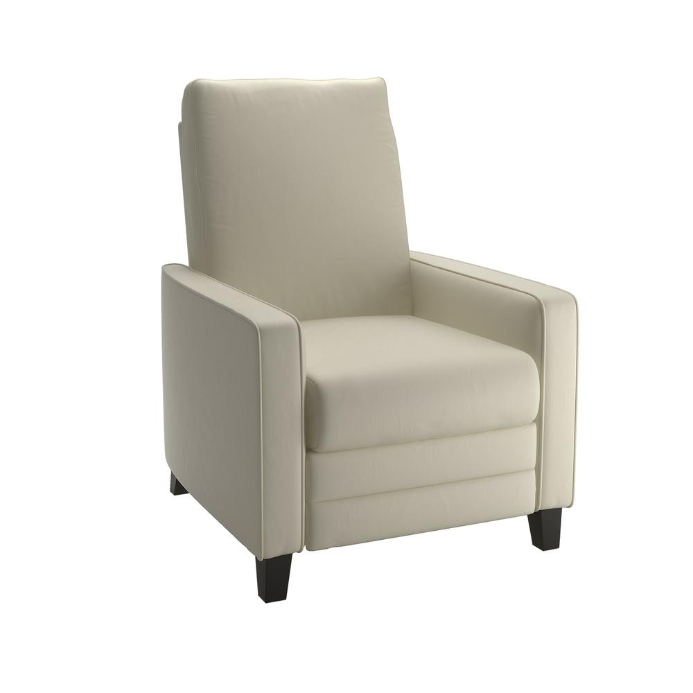 Kelsey Cream Bonded Leather Recliner. Picture 1