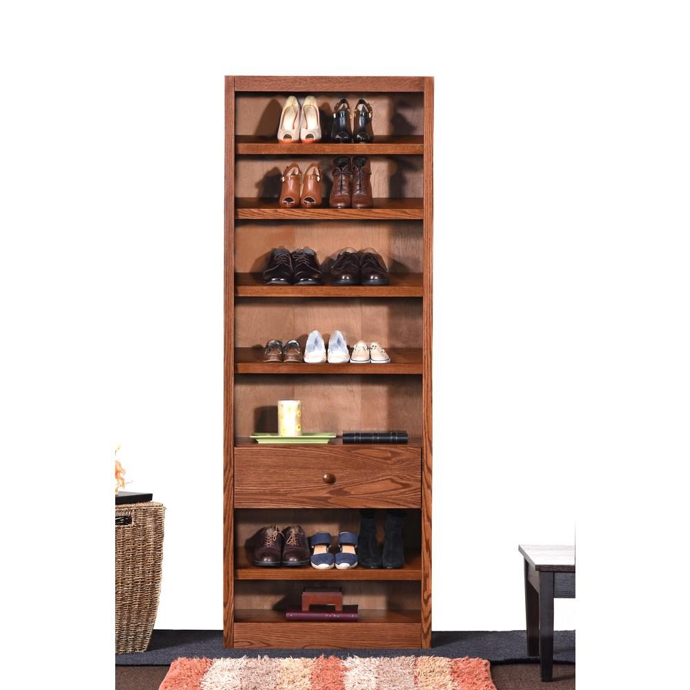 Concepts In Wood Shoe Rack with Drawer, Dry Oak Finish