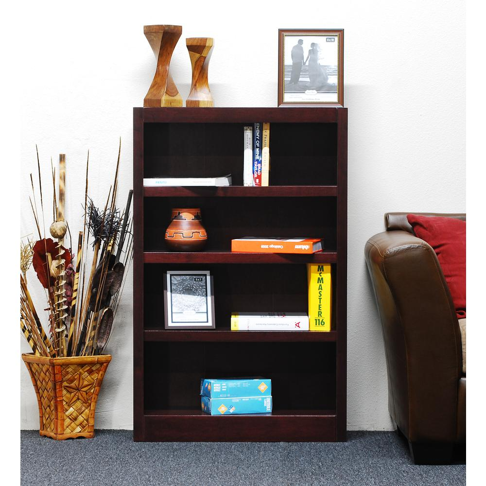Concepts in Wood Single Wide Bookcase, 4 Shelves, Cherry Finish. Picture 1