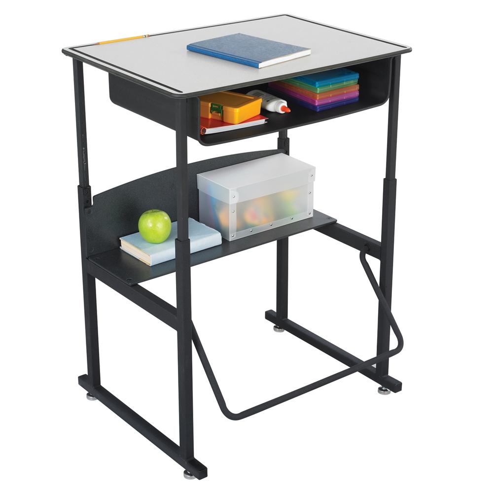 AlphaBetter® Adjustable Height Stand Up Desk, 28 X 20u201d Premium Top, Book  Box And Swinging Footrest Bar ...
