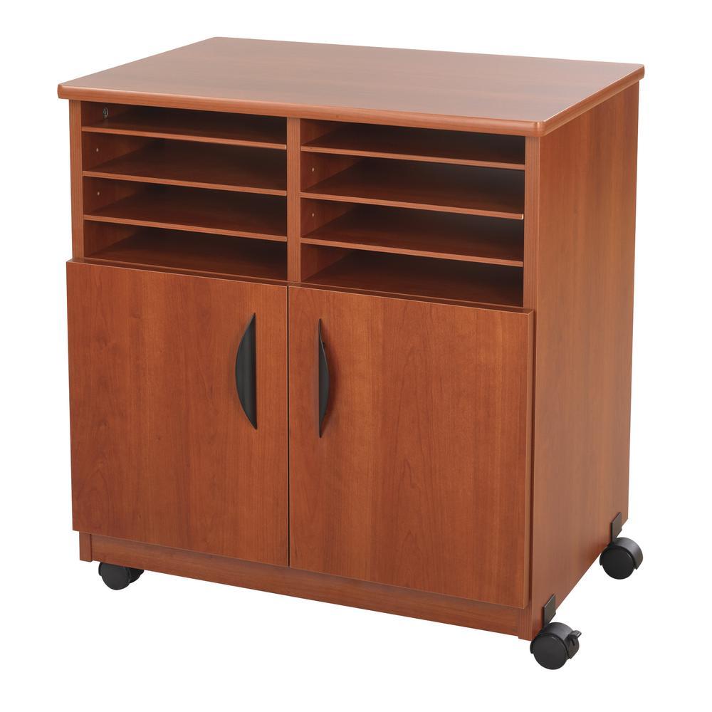 Laminate Machine Stand w/Sorter Compartments, 28w x 19-3/4d x 30-1/4h, Cherry. Picture 2