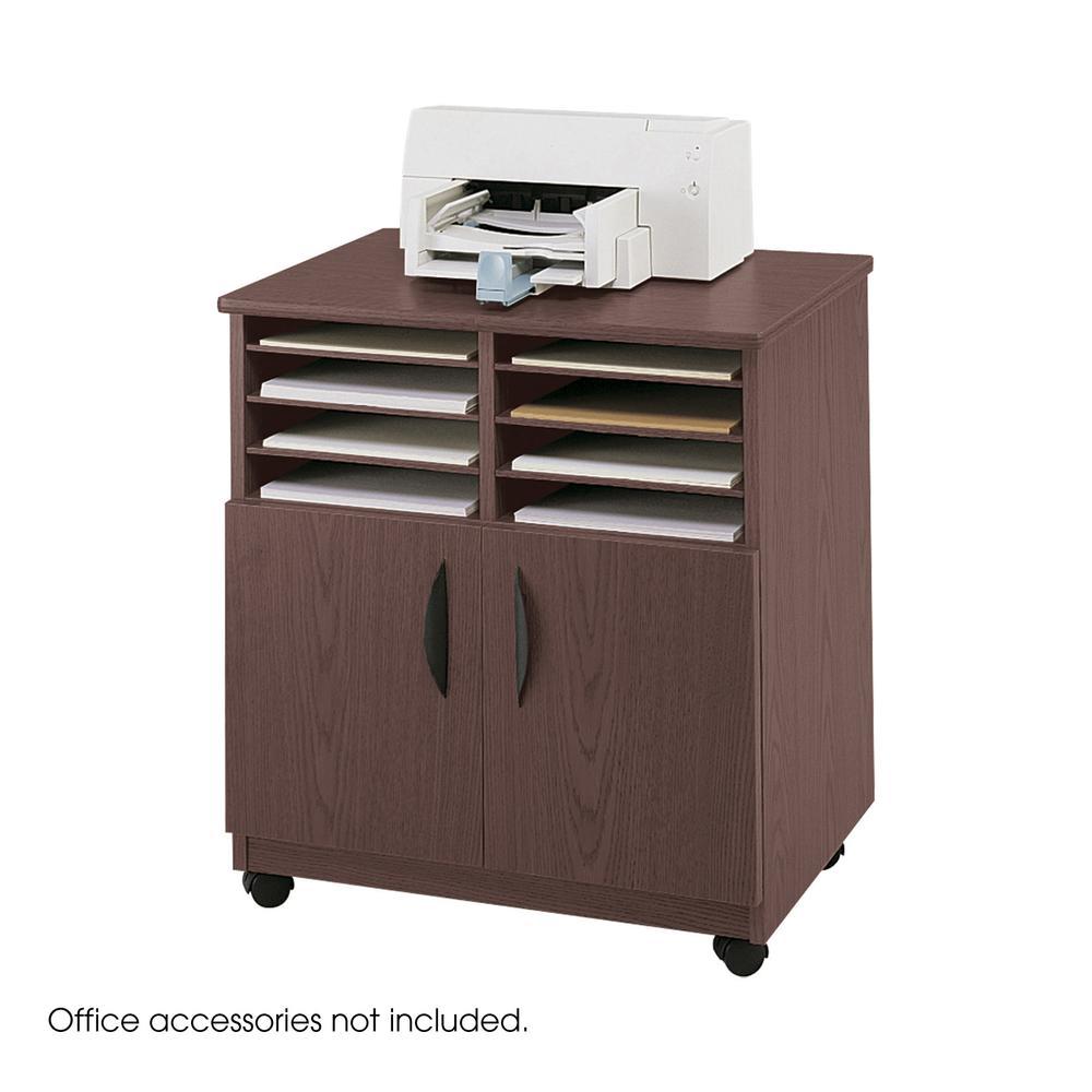 Laminate Machine Stand w/Sorter Compartments, 28w x 19-3/4d x 30-1/4h, Mahogany. Picture 2
