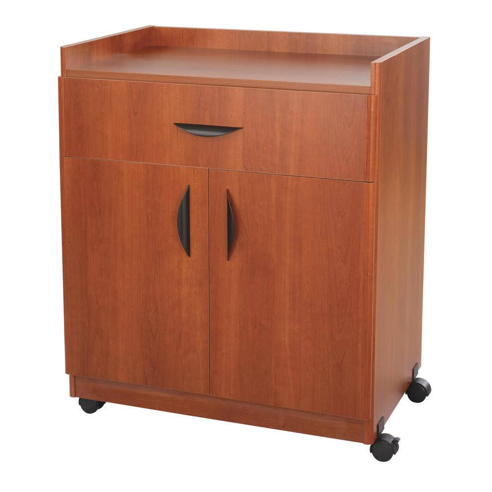 """Safco Deluxe Mobile Machine Stands - 200 lb Load Capacity - 36.3"""" Height x 30"""" Width x 20.5"""" Depth - Laminate - Particleboard, Wood - Cherry. Picture 1"""