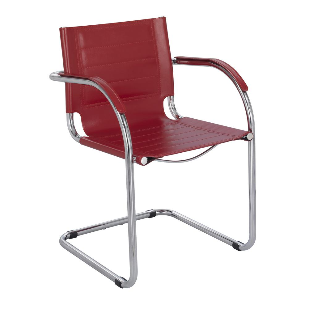 Flaunt Series Guest Chair, Red Leather/Chrome. Picture 2