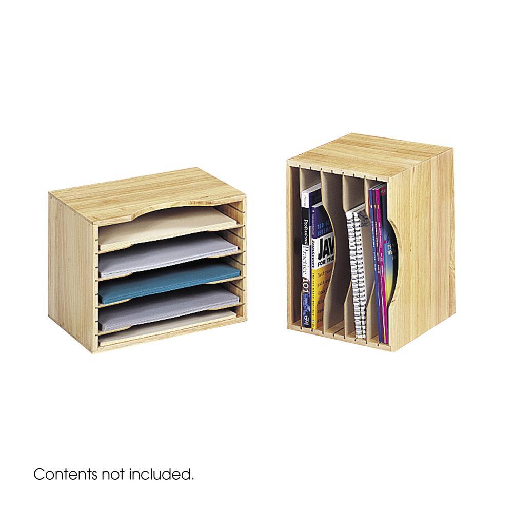 "Safco Wood Stackable Sorters - 5 Compartment(s) - 4 Divider(s) - 9.5"" Height x 12.8"" Width x 9.3"" Depth - Desktop - Light Oak - Wood - 1Each. Picture 2"