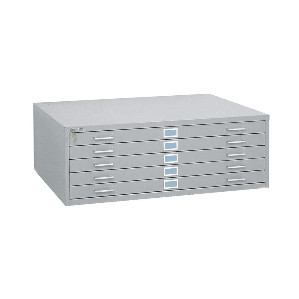 Five-Drawer Steel Flat File, 53-1/2w x 41-1/2d x 16-1/2h, Gray. Picture 2