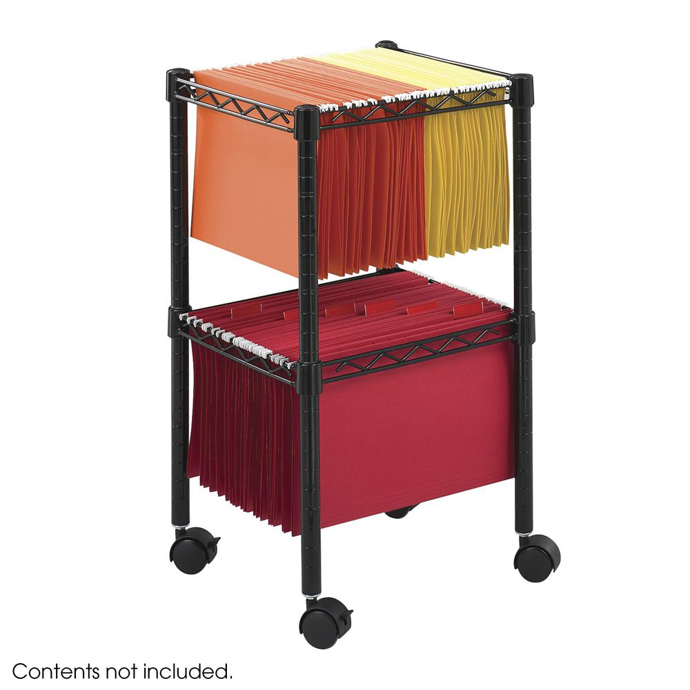 Two-Tier Compact Mobile Wire File Cart, Steel, 15.5w x 14d x 27.5h, Black. Picture 2