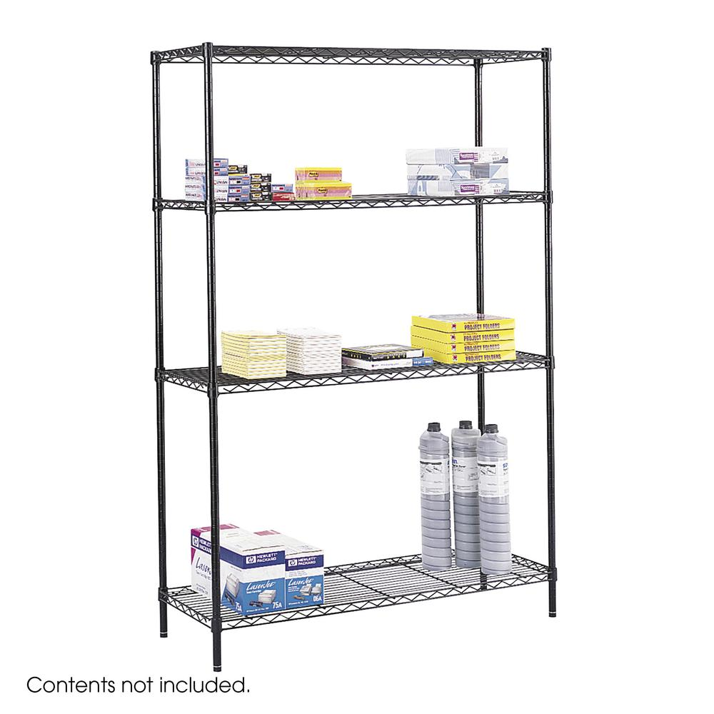 """Safco Commercial Wire Shelving - 48"""" x 18"""" x 72"""" - 4 x Shelf(ves) - 500 lb Load Capacity - Leveling Glide - Black - Powder Coated - Steel - Assembly Required. Picture 2"""