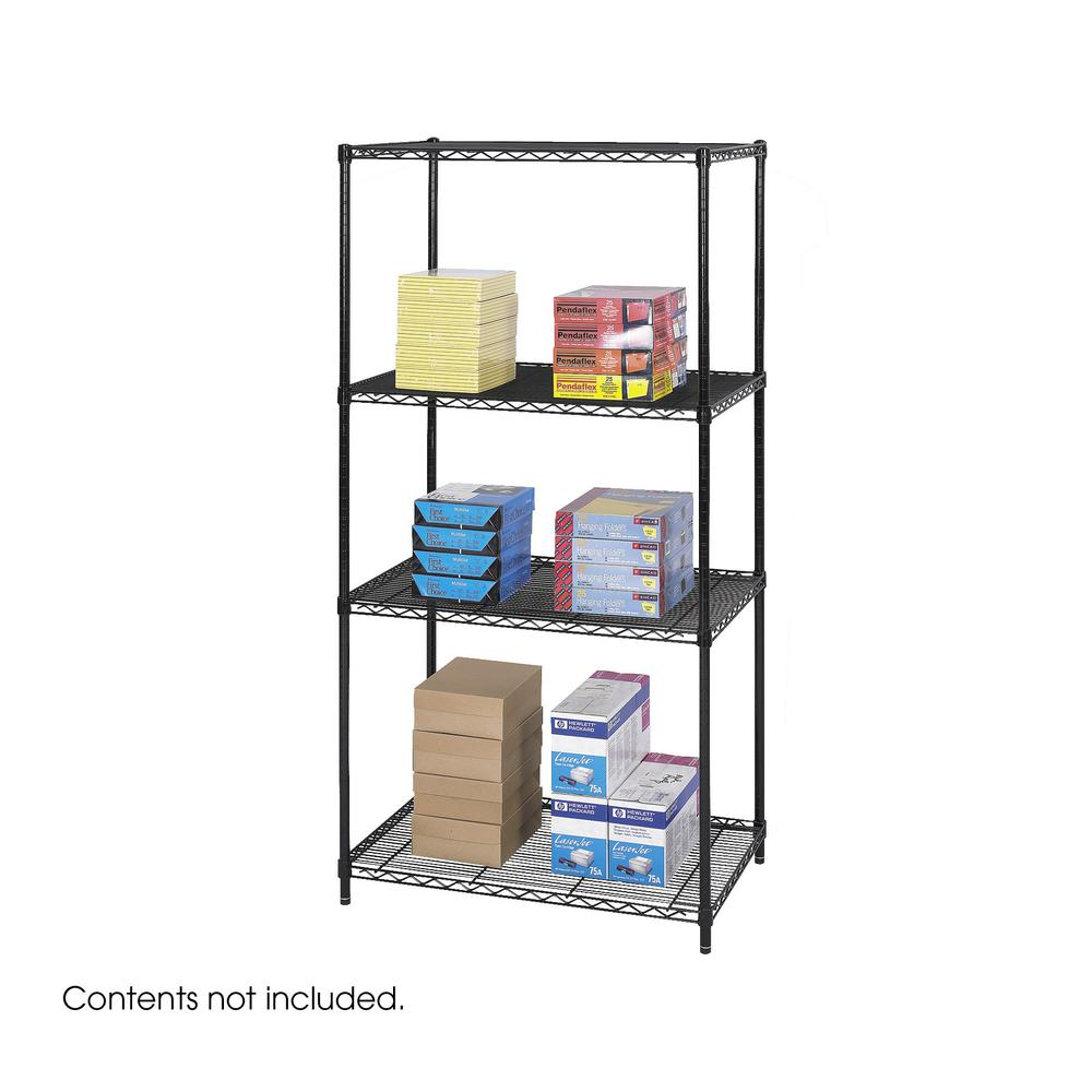 """Safco Industrial Wire Shelving - 36"""" x 24"""" - 4 x Shelf(ves) - 2500 lb Load Capacity - Leveling Glide, Dust Proof, Adjustable Shelf, Durable - Black - Powder Coated - Steel - Assembly Required. Picture 1"""