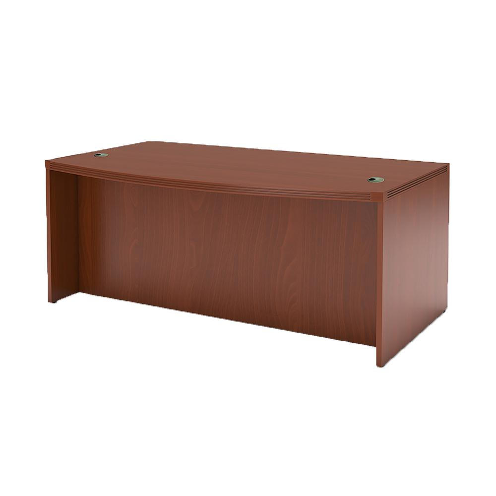 Aberdeen Series Laminate Bow Front Desk Shell, 72w x 42d x 29-1/2h, Cherry. Picture 2