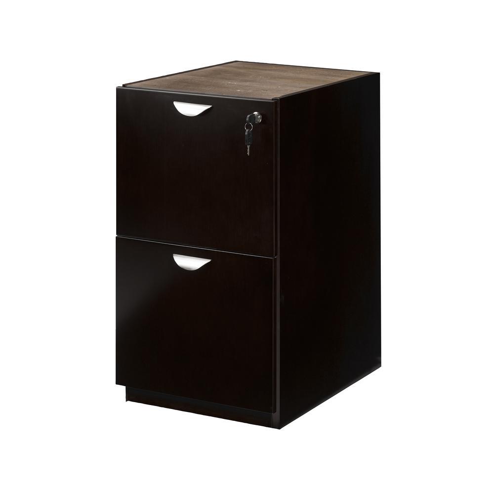 Mira Series File/File Credenza Pedestal, 15w x 22d x 27¾h, Espresso. Picture 2