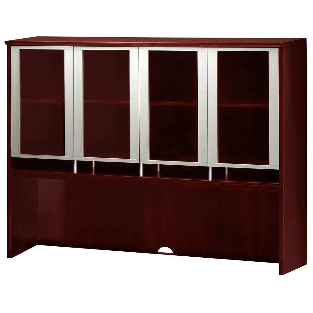 """Glass Door Hutch - 72"""" Width x 15"""" Depth x 50.5"""" Height - Veneer, Wood - Sierra Cherry. Picture 2"""
