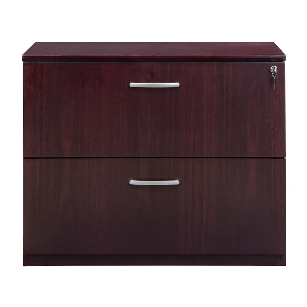 """Mayline Corsica Two-Drawer Lateral File - 36"""" x 19"""" x 29.5"""" - 2 - Beveled Edge - Material: Wood - Finish: Mahogany, Walnut Veneer. Picture 4"""