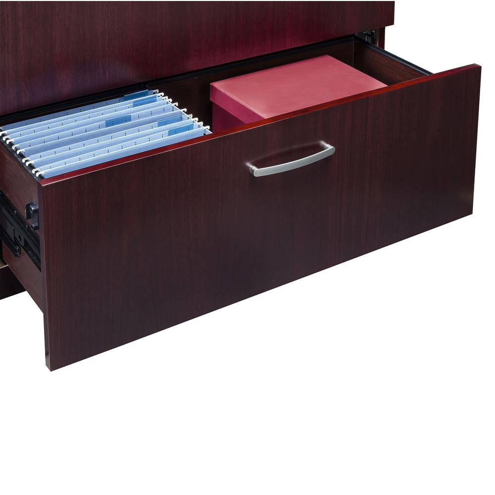 """Mayline Corsica Two-Drawer Lateral File - 36"""" x 19"""" x 29.5"""" - 2 - Beveled Edge - Material: Wood - Finish: Mahogany, Walnut Veneer. Picture 2"""