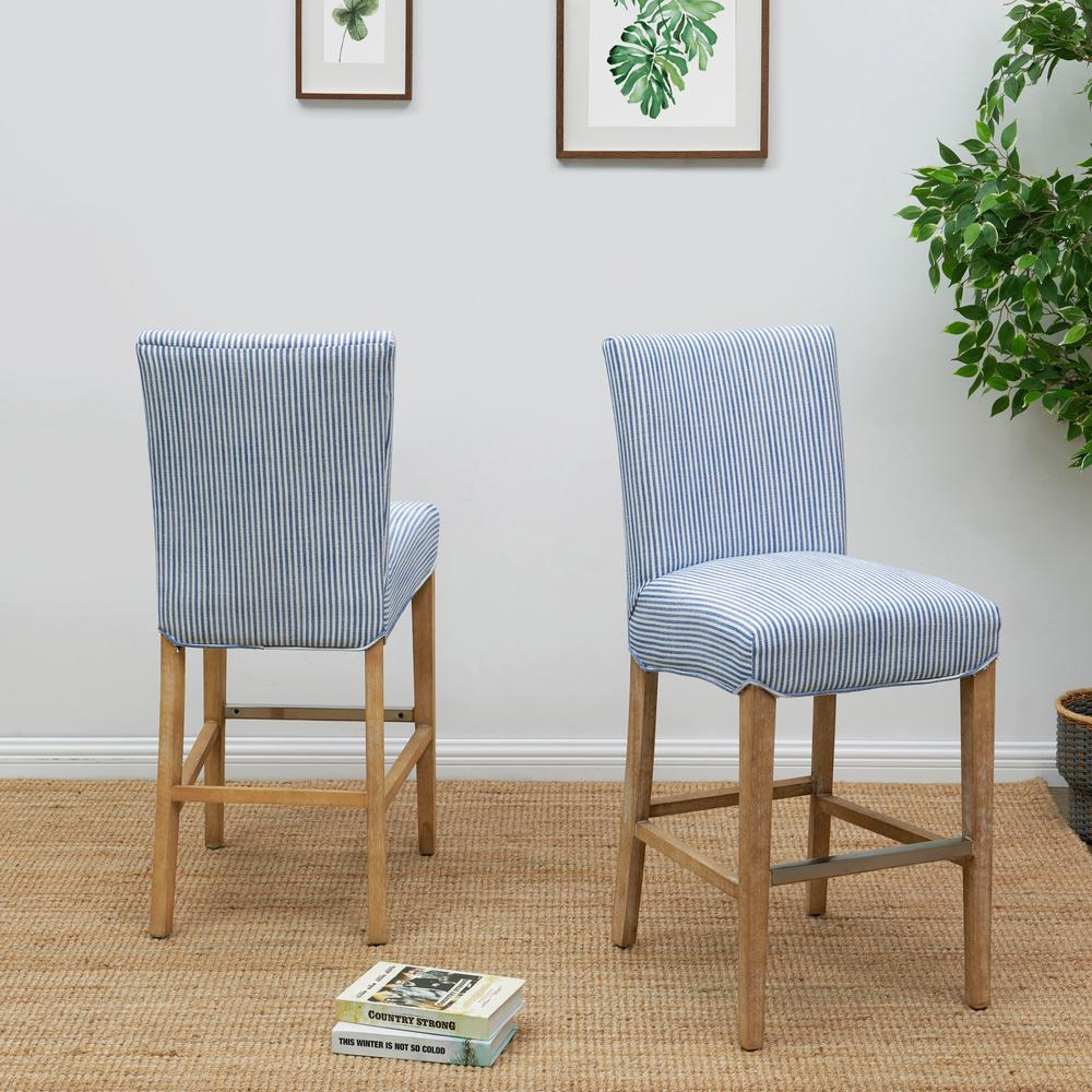 Milton Fabric Counter Stool, Blue Stripes. Picture 8