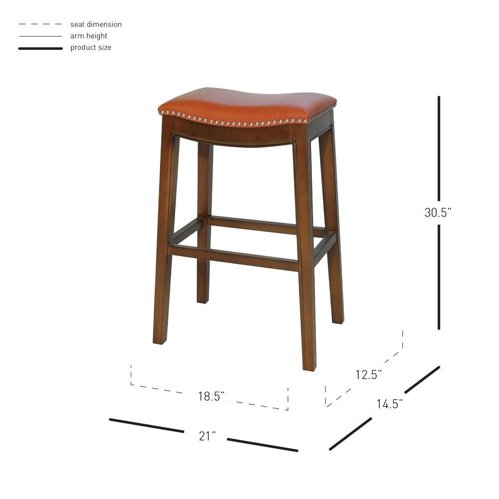 Elmo Bonded Leather Bar Stool - Pumpkin. Picture 6