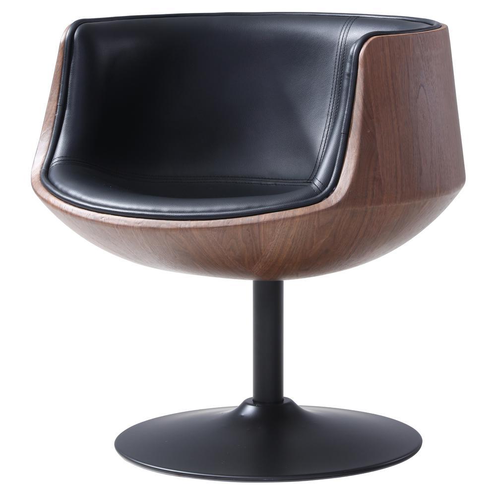 Conan Pu Leather Swivel Chair Monaco Black