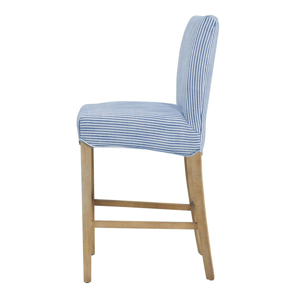 Milton Fabric Counter Stool, Blue Stripes. Picture 3