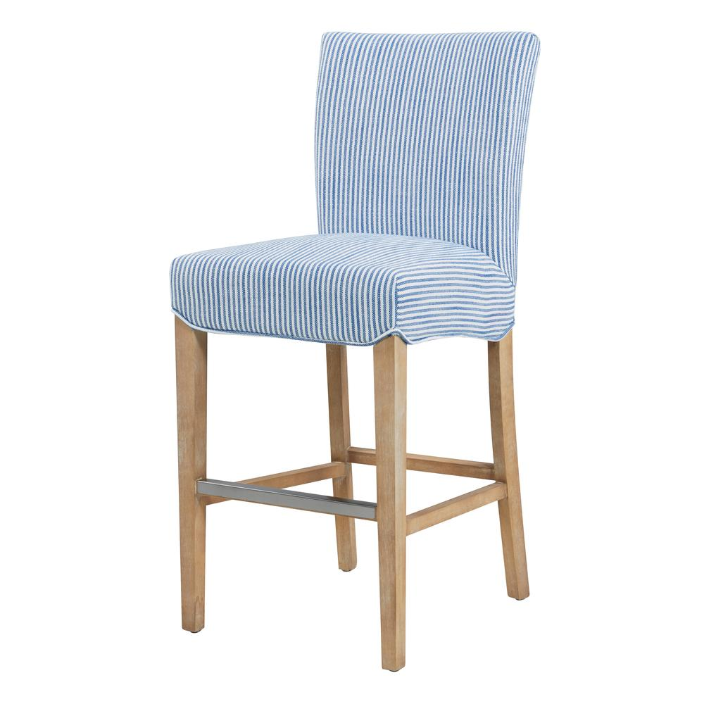Milton Fabric Counter Stool, Blue Stripes. Picture 1