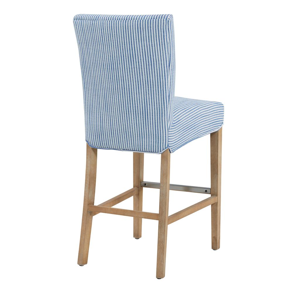 Milton Fabric Counter Stool, Blue Stripes. Picture 5