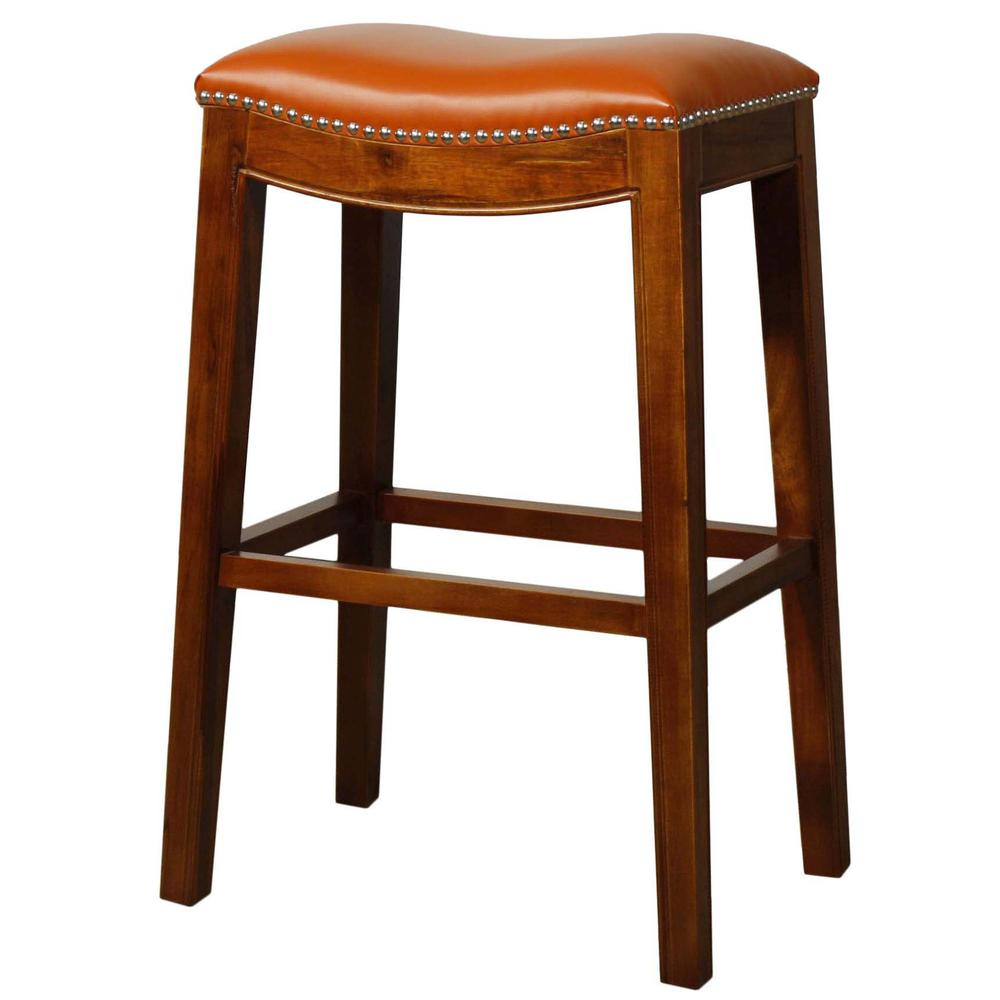 Elmo Bonded Leather Bar Stool - Pumpkin. Picture 2