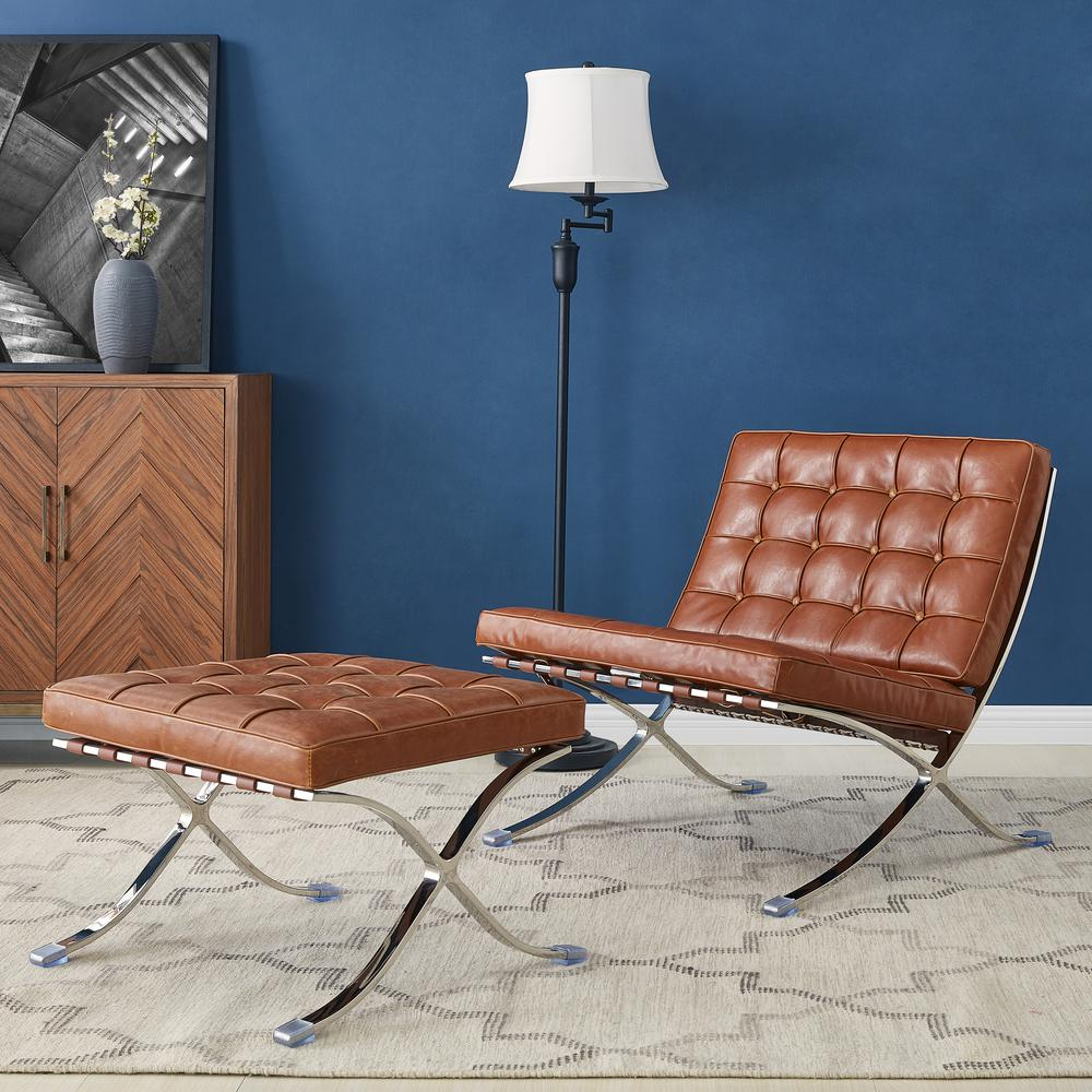 Barca Accent Chair, Distressed Caramel
