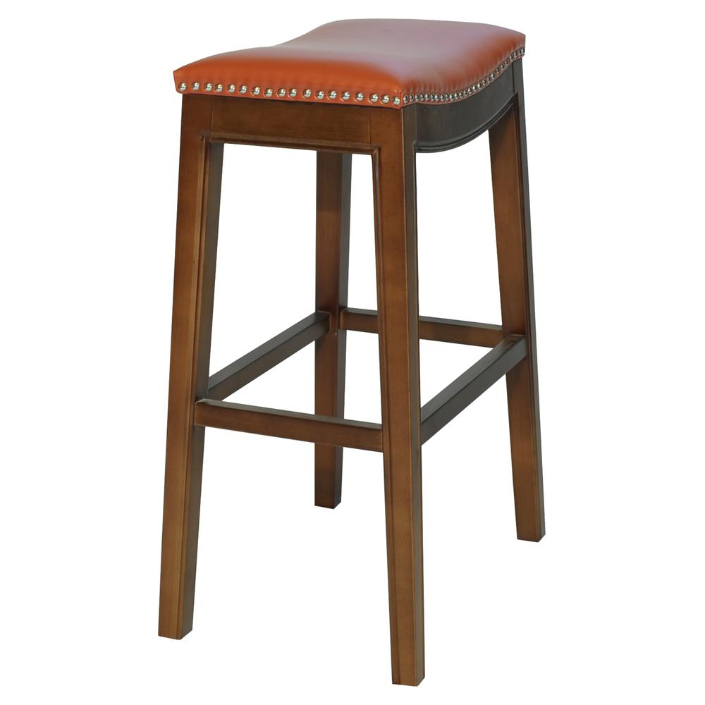 Elmo Bonded Leather Bar Stool - Pumpkin. Picture 5