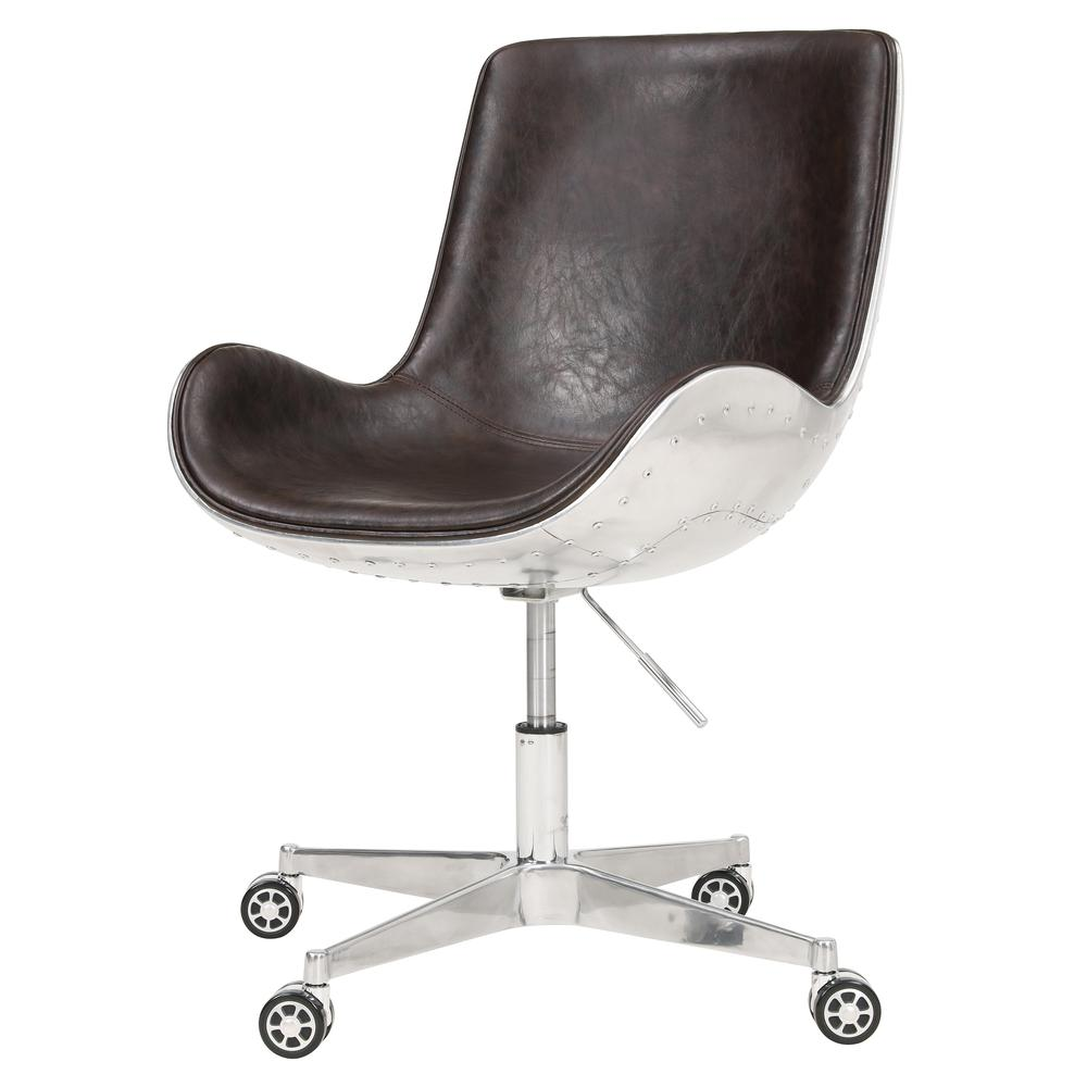 Abner Swivel Office Chair Distressed Java