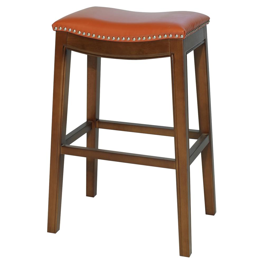 Elmo Bonded Leather Bar Stool - Pumpkin. Picture 1