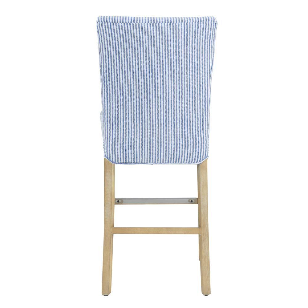 Milton Fabric Counter Stool, Blue Stripes. Picture 4