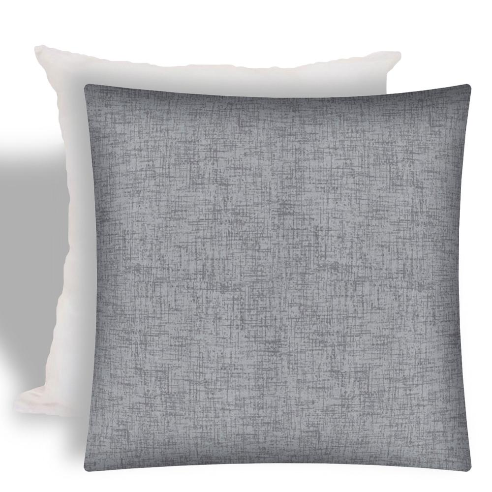 Weave Gray Indoor Outdoor Zippered Pillow Cover With Insert