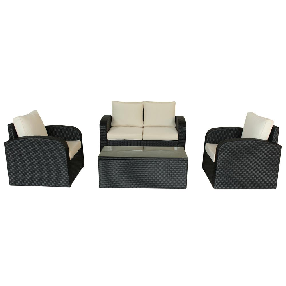 4 Piece Espresso Outdoor Lounge Set With Cushions