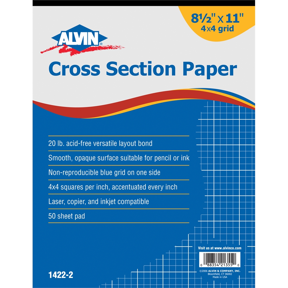 cross section paper 4 x 4 grid 50 sheet pad 8 1 2 x 11
