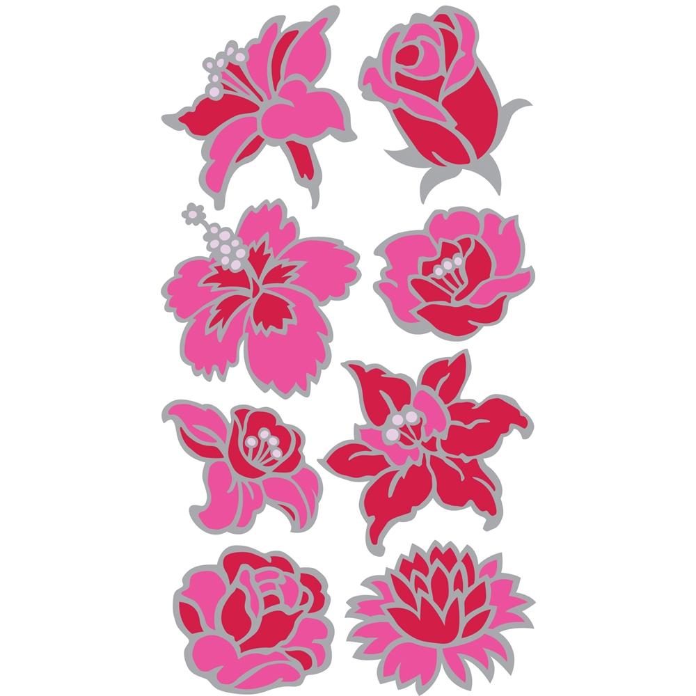 Outline Stickers Pink Flowers