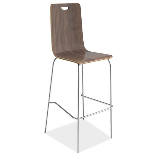 Cafe Height, High Back Wood Stool, Hand Hole in Back with Chrome Base. Picture 1