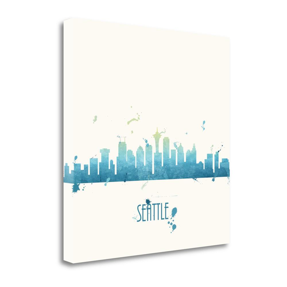 """""""True Blue Seattle - Sq."""" By Anna Quach, Giclee Print on Gallery Wrap Canvas. Picture 1"""