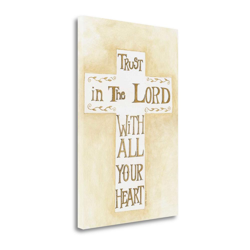 """Trust In The Lord Creme"" By Cindy Shamp, Giclee Print on Gallery Wrap Canvas. Picture 1"