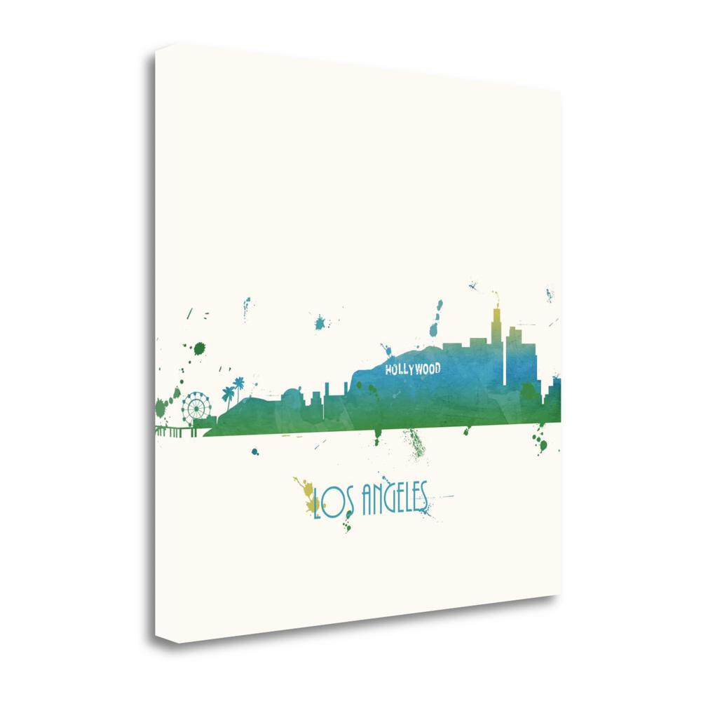 """""""Cool Blue Los Angeles - Sq."""" By Anna Quach, Giclee Print on Gallery Wrap Canvas. Picture 1"""