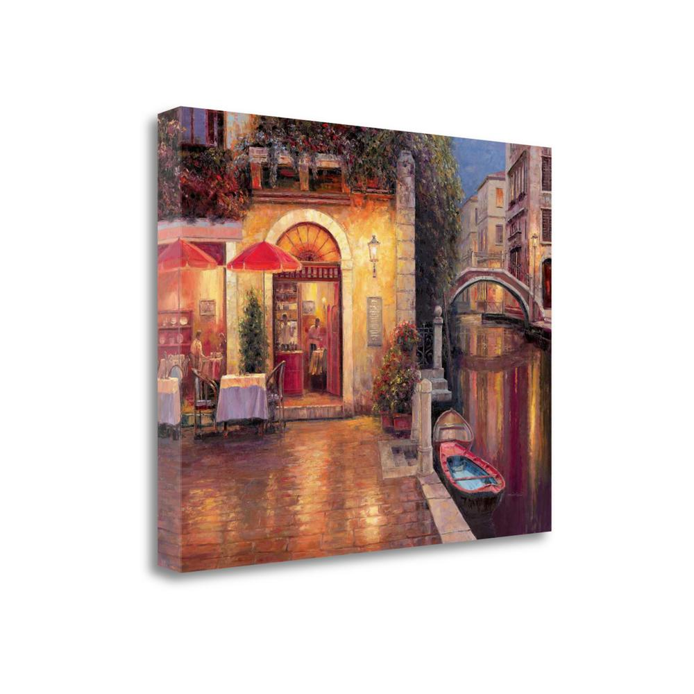 """Night Cafe After Rain"" By Haixia Liu, Giclee Print on Gallery Wrap Canvas. Picture 1"