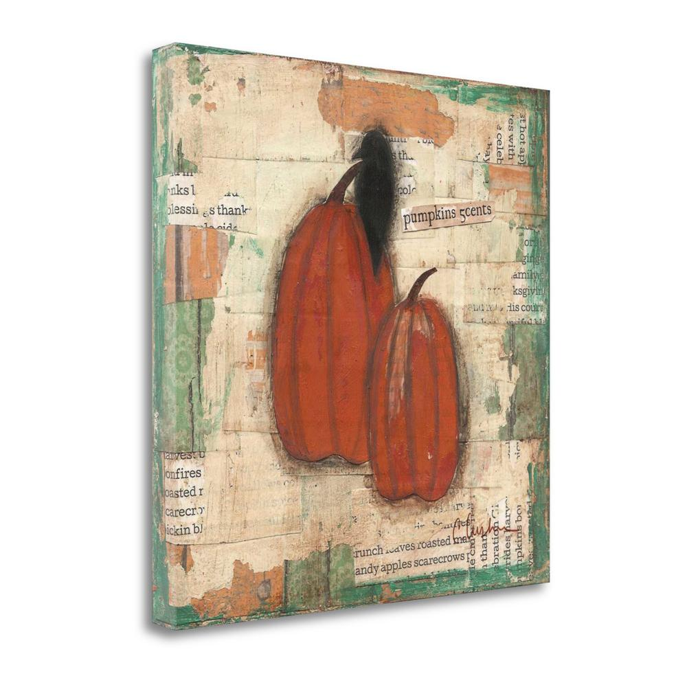 """""""Pumpkins And Crow"""" By Cassandra Cushman, Giclee Print on Gallery Wrap Canvas. Picture 1"""