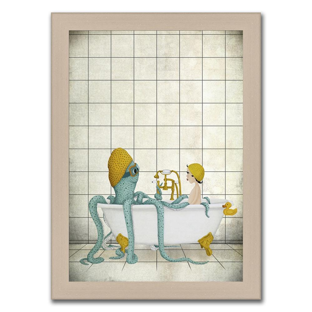 """""""Kraken in the Bath """" Framed Painting Print in Acrylic Finish. Picture 1"""