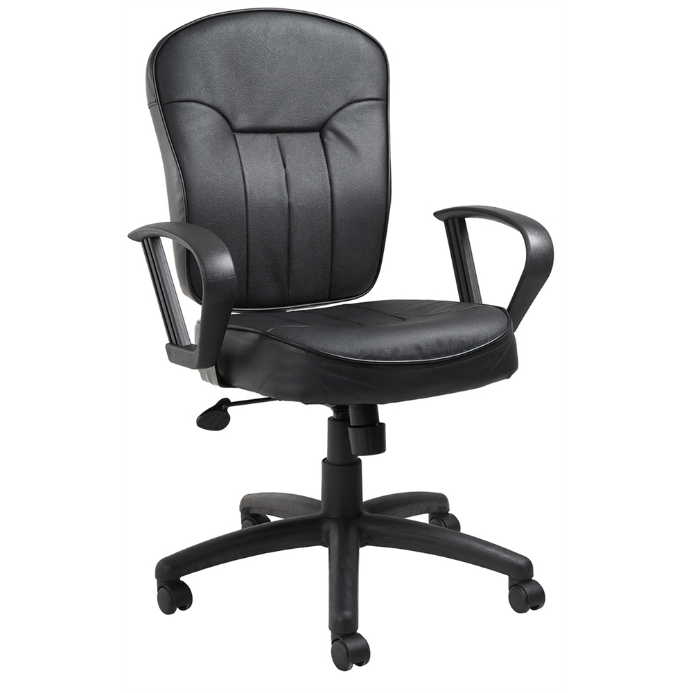Boss Black Leather Task Chair W/ Loop Arms. Picture 1