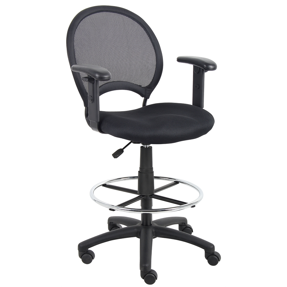 Boss Mesh Drafting Stool W/ Adjustable Arms. Picture 1
