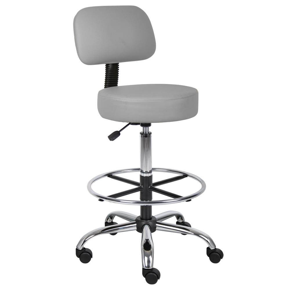 Boss Caressoft Medical/Drafting Stool W/ Back Cushion. Picture 6