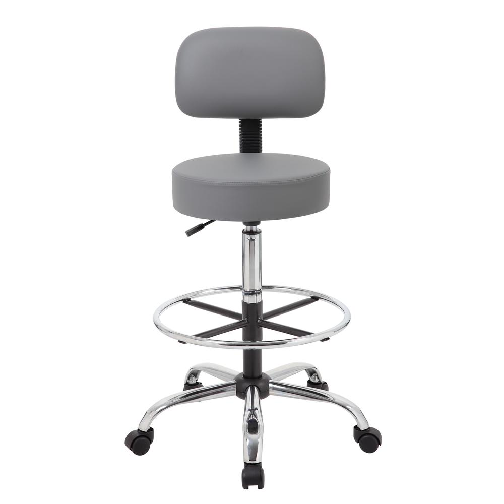 Boss Caressoft Medical/Drafting Stool W/ Back Cushion. Picture 1