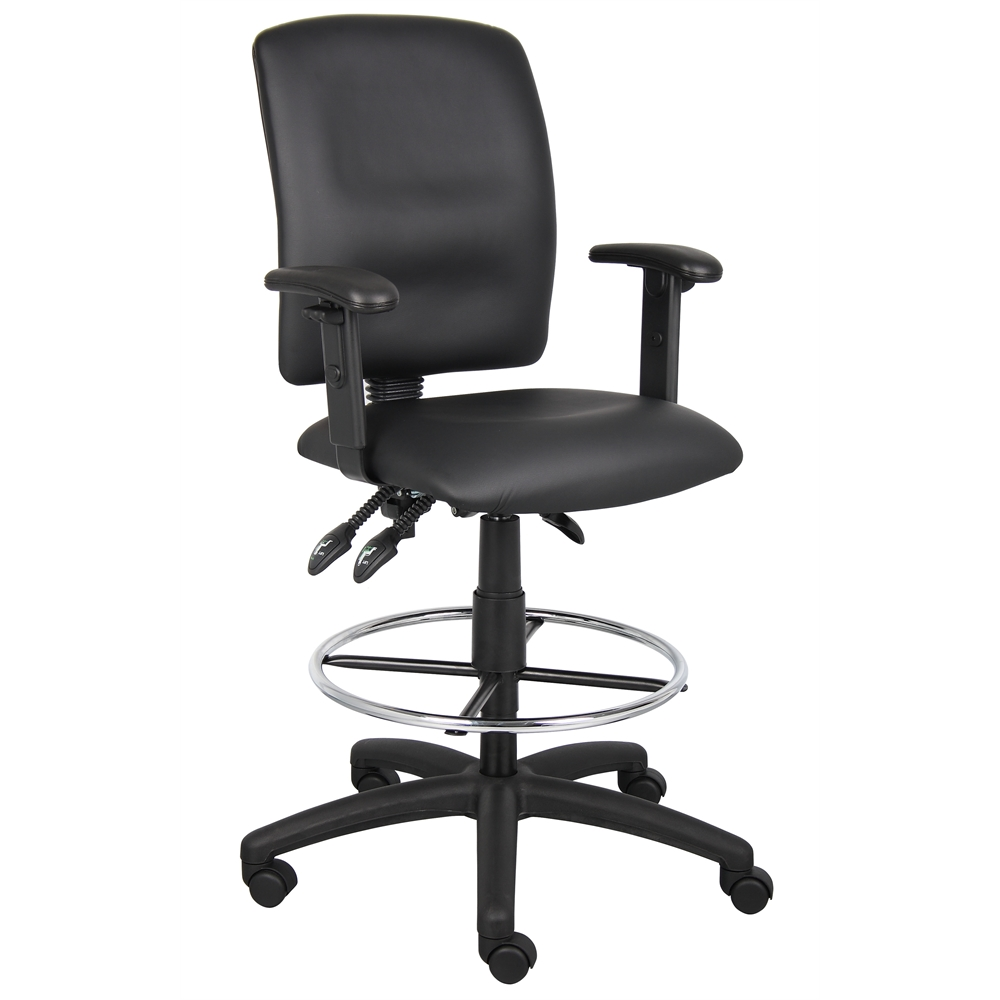 Boss Multi-Function LeatherPlus Drafting Stool W/ Adjustable Arms. Picture 1