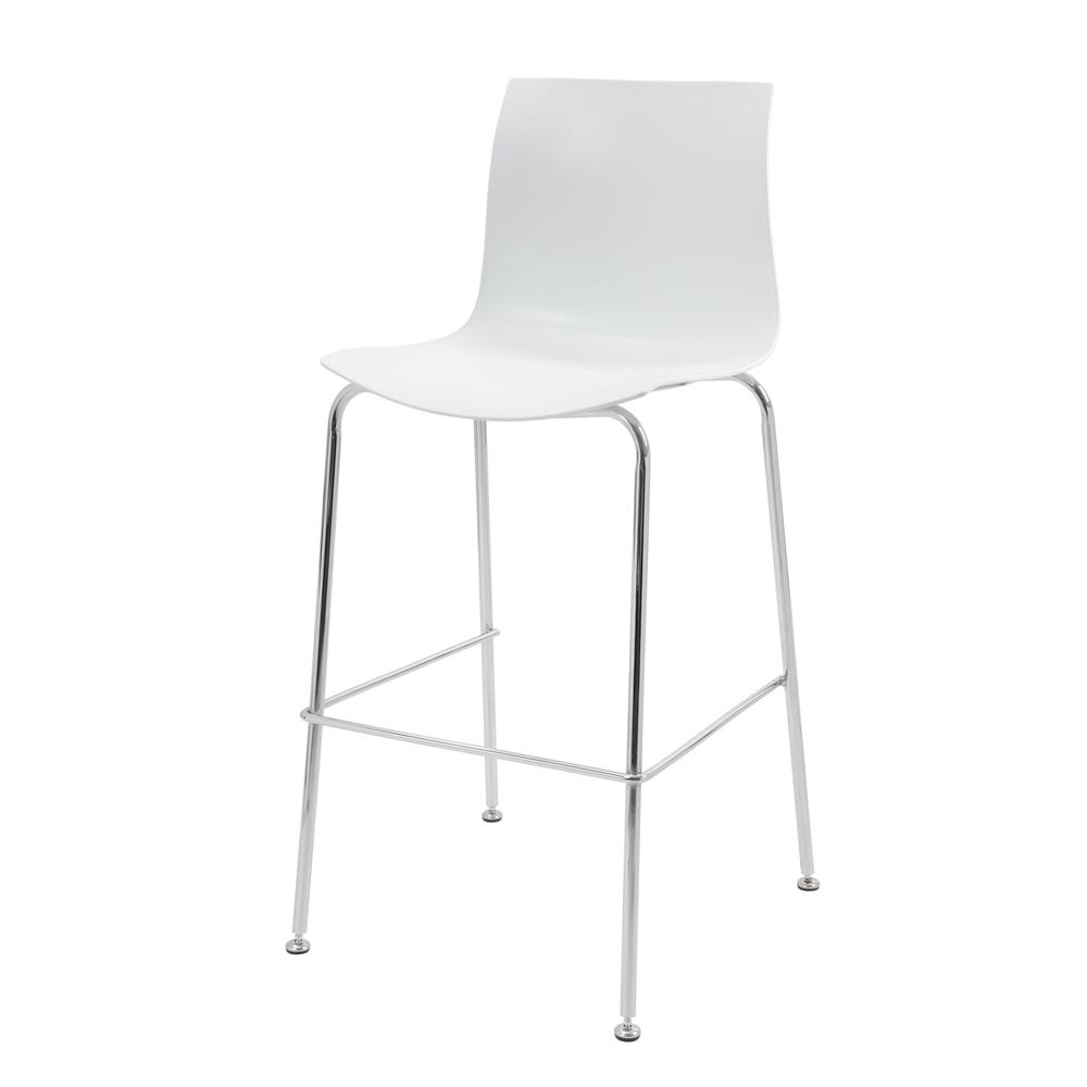 Boss White Stool w/Chrome Frame. Picture 5