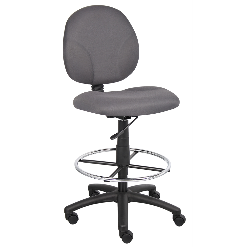 Boss Gray Fabric Drafting Stools W/Footring. Picture 1