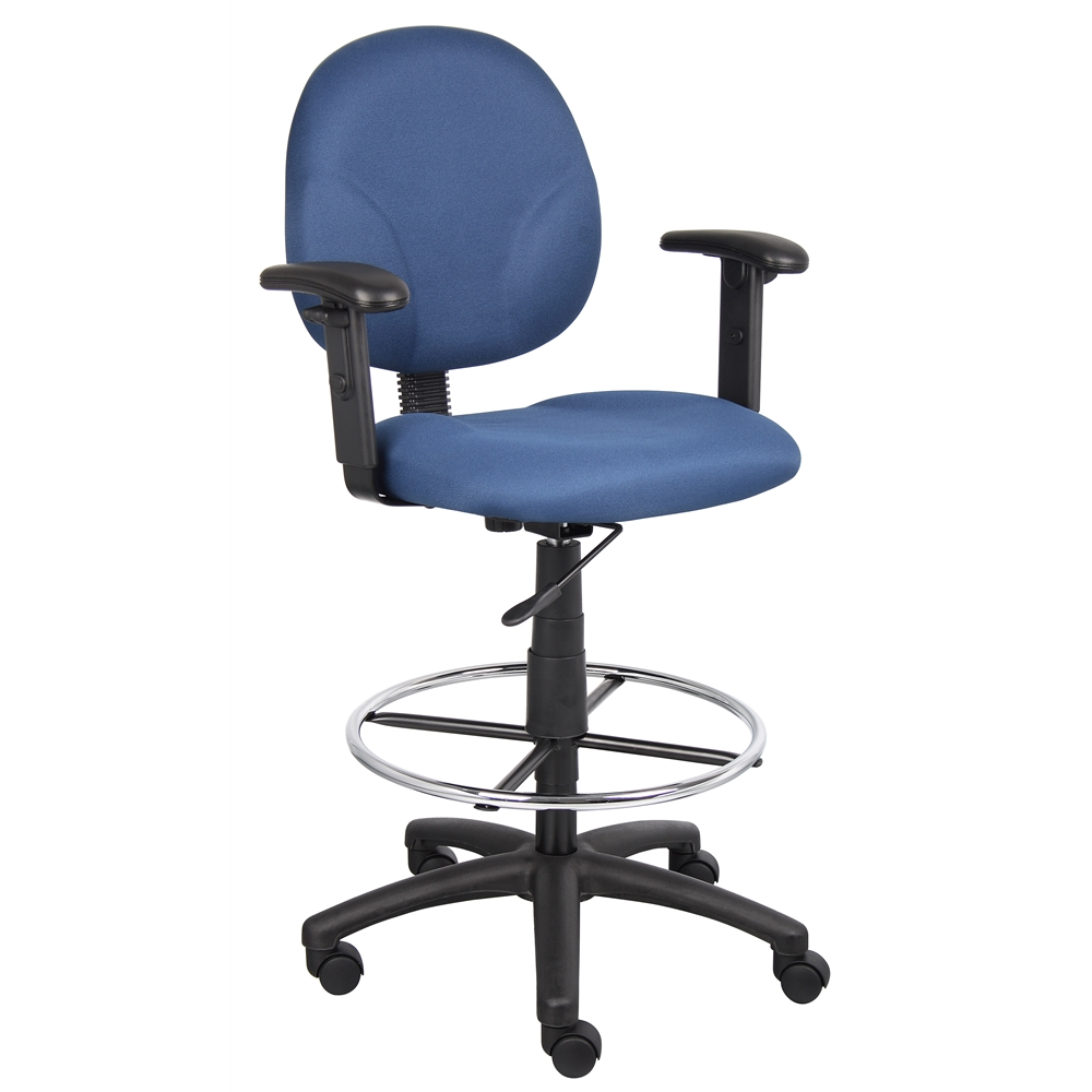 Boss Blue Fabric Drafting Stools W/Adj Arms & Footring. Picture 1